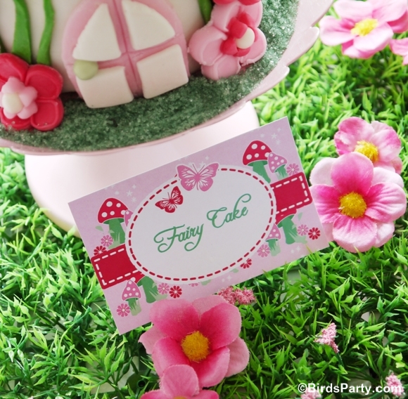 Pink Pixie Fairy Birthday Party Toadstool cake - BirdsParty.com