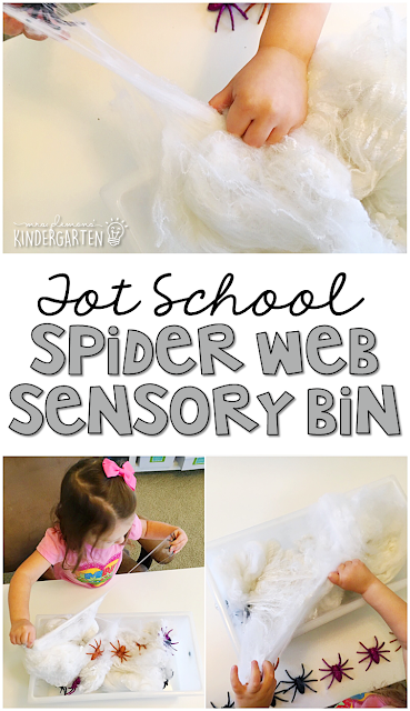 We LOVE this spider web sensory bin. The spiders really get stuck in the fake web making it great for building fine motor strength. Great for tot school, preschool, or even kindergarten!