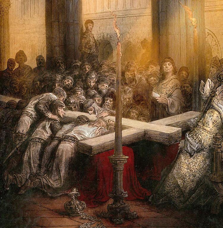 Cruzados adoram o Santo Lenho. Gravura de Gustave Doré (1832 — 1883).