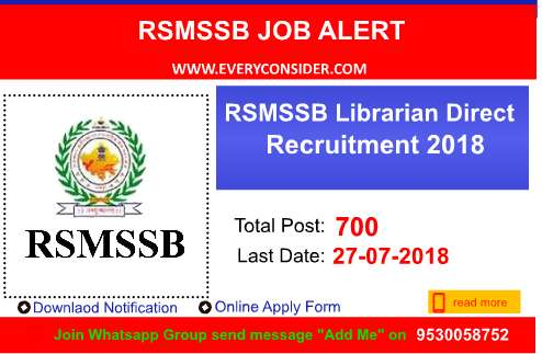 RSMSSB Librarian Direct Recruitment 2018