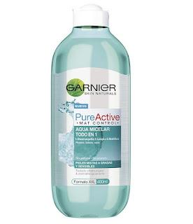 Agua micelar pure active mat control garnier