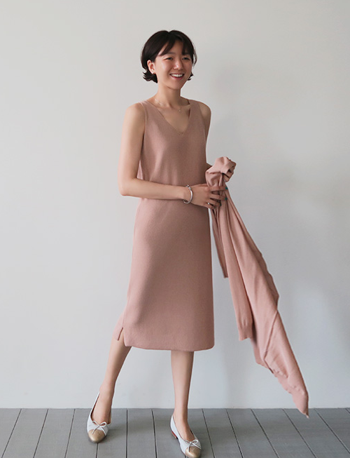 Cotton Blend Sleeveless Midi Dress