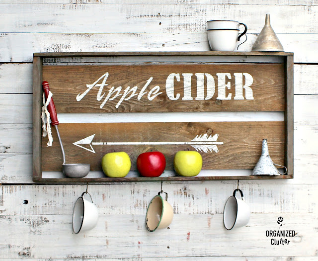 Repurposed Garage Sale Crate To Apple Cider Sign #oldsignstencils #applecider #stencil #falldecor #rusticdecor