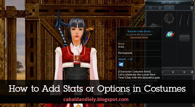 How To Add Stats Or Options In Costumes