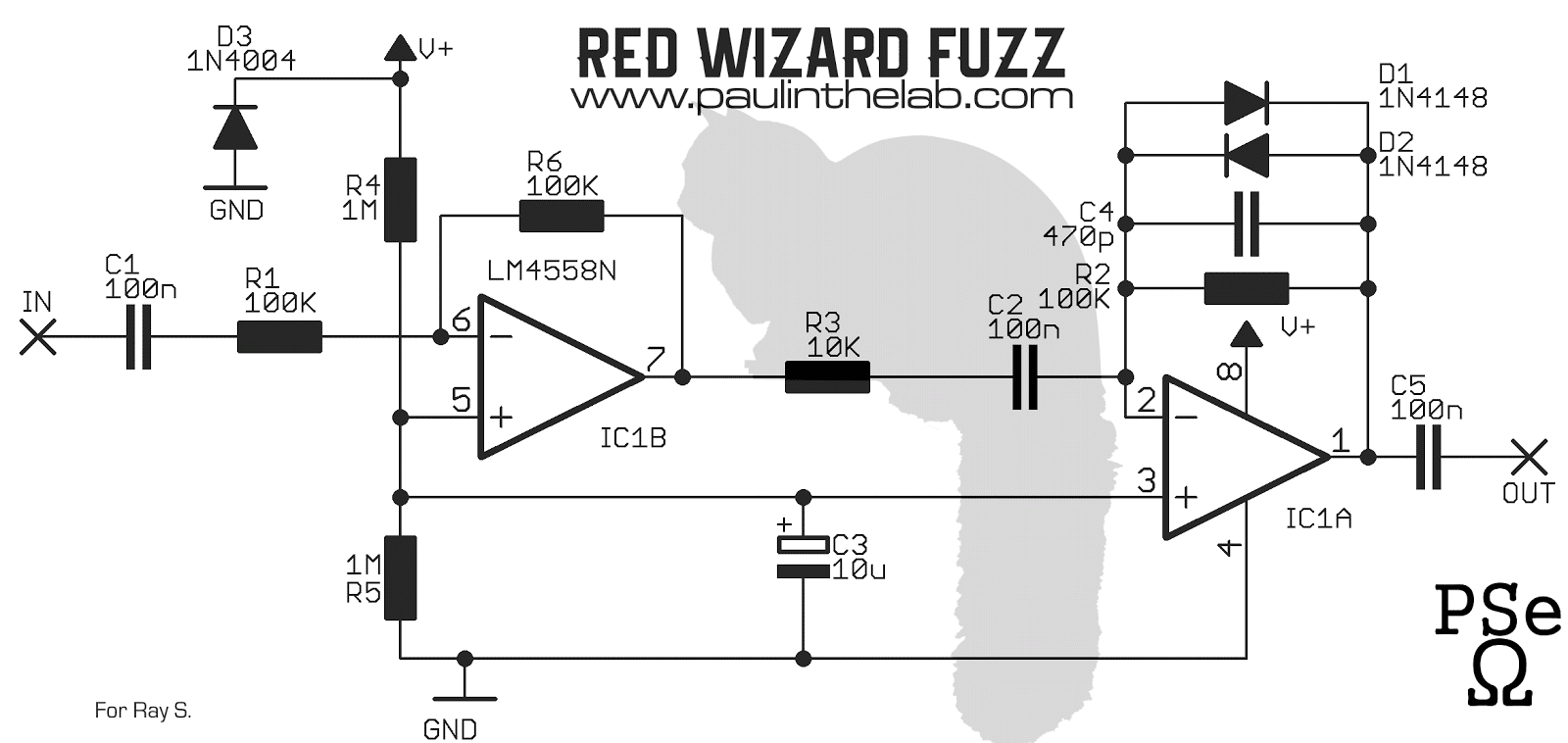 paul in the lab  red wizard fuzz stripboard layout