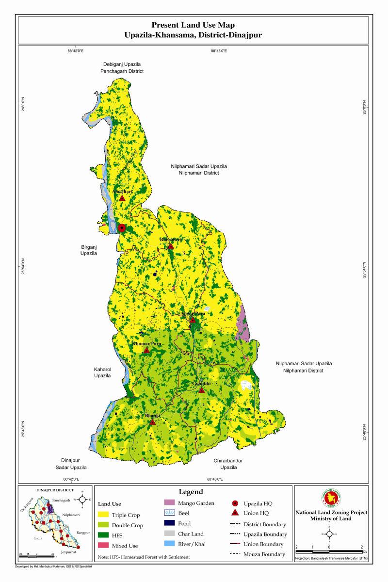 Khansama Upazila Mouza Map Dinajpur District Bangladesh