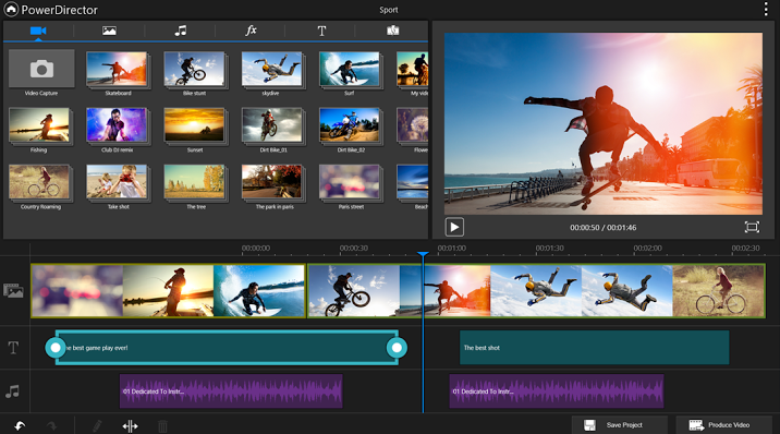Free video editing software nonlinear, and black for tablets mobile devices PowerDirector mobile