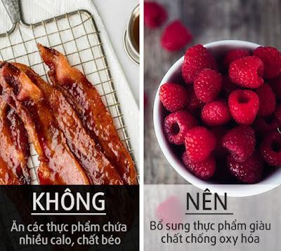 giảm thực phẩm chứa nhiều calo, chất béo trong khẩu phần ăn