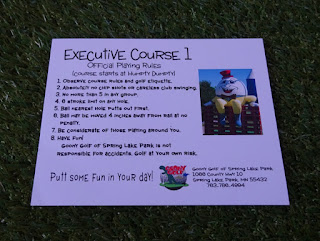 Scorecard for the Executive course 1 at Goony Golf of Spring Lake Park in Minnesota