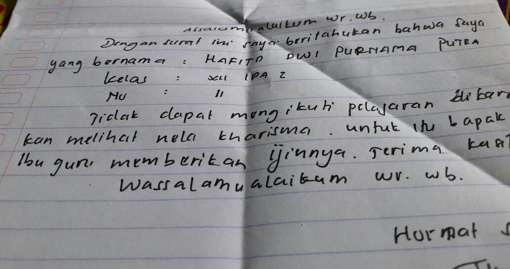 Siswa Ini Tulis Surat Izin Tidak Masuk Sekolah Isinya Bikin