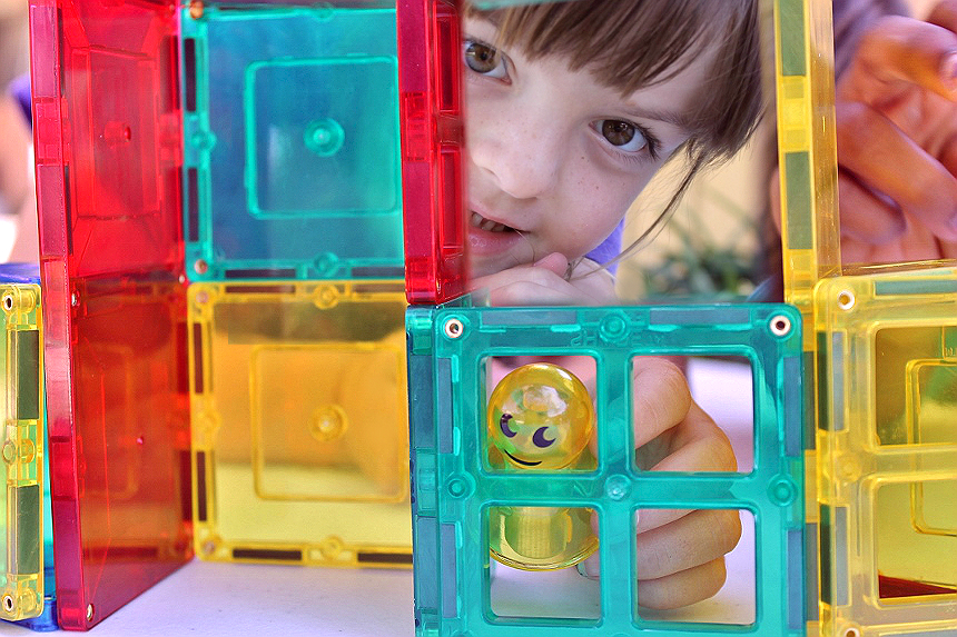 Magnetic Stick N' Stack tiles come in a variety of shapes that magically connect to build endless shapes and structures. Best of all, they don't hurt wheny ou step on them! #ad