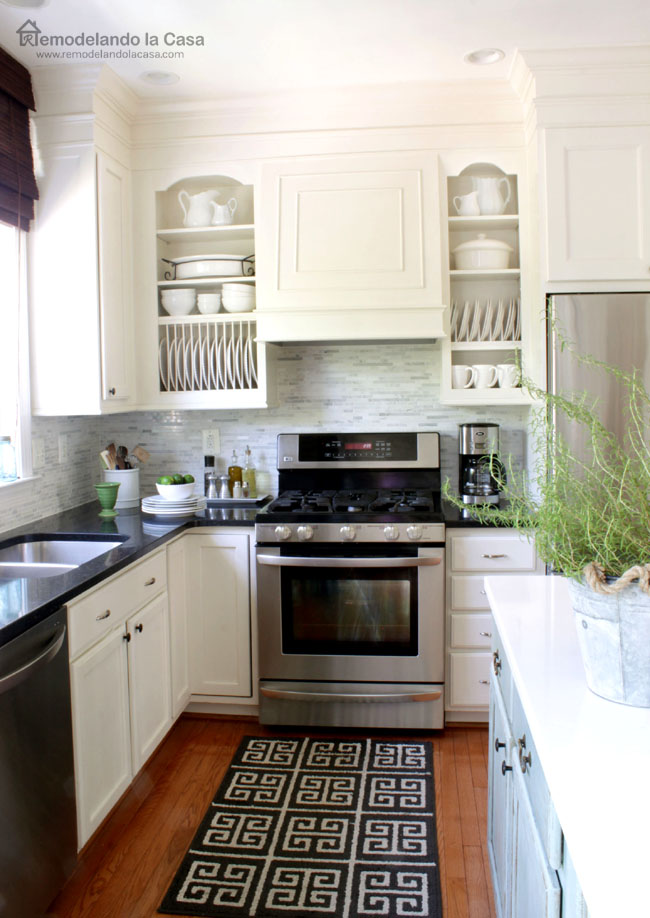 custom look cabinets and range hood makeover