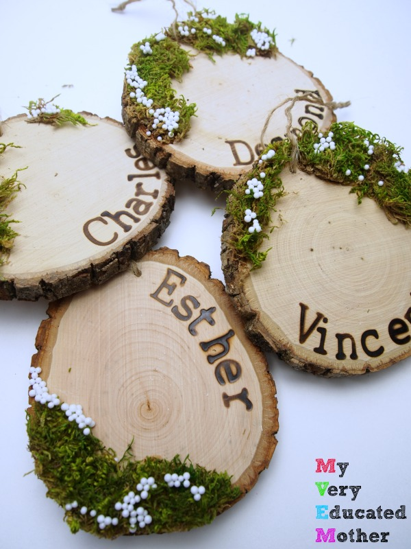 Rustic charm never goes out of style and it's especially lovely in these personalized wood slice ornaments!