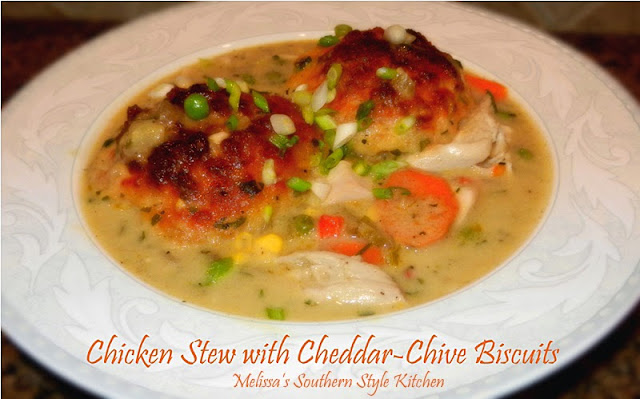 Chicken Stew With Cheddar-Chive Biscuits