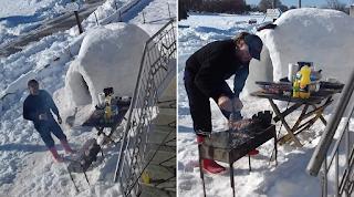 Πρεβεζάνος: Εφτιαξε ιγκλού έξω από το σπίτι του και το γιόρτασε με… μπάρμπεκιου