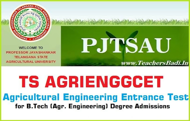 PJTSAU,TS AGRIENGGCET,|TS Agricultural Engineering Entrance Test