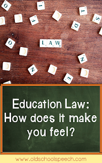 "pinterest pin with scrabble pieces on the top with the word ""law"" in the middle; the bottom has the words ""Educaiton Law: How does it make you feel?"" on a green chalkboard background."
