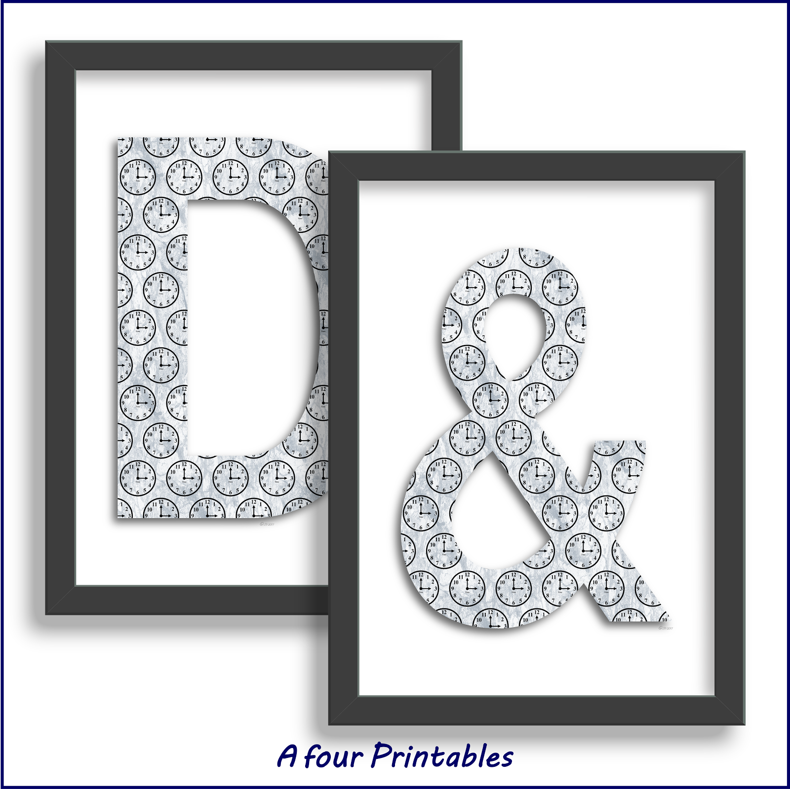 A4 printable monograms, ampersand letters or initials marble effect with black clock faces.