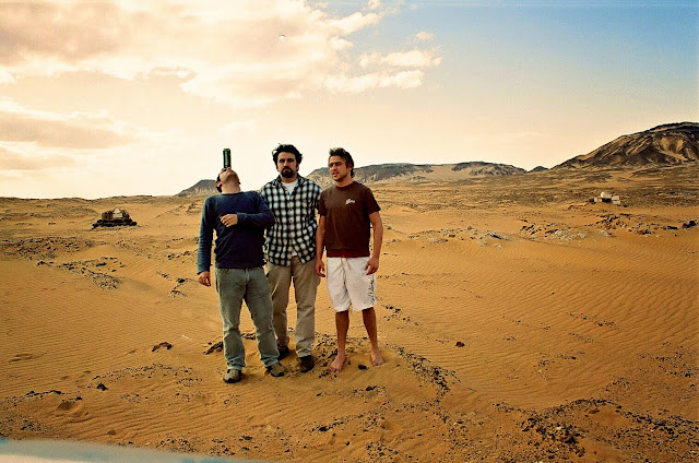 Nephews Ahmed Mazhar (L) and Seif Seif el Nasr (R) with Omar Cherif, The Guardian Angels of the White Desert, One Lucky Soul