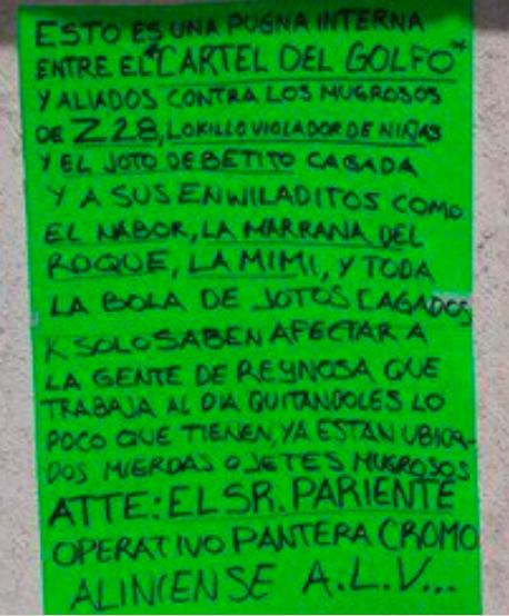 """""""EL PANTERA"""" DEL CDG ENVÍA NARCOMENSAJE SANGRIENTO A """"LOS CONTRAS"""" ZETAS"""