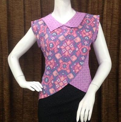 Batik Emboss Modern Wanita Lengan Pendek