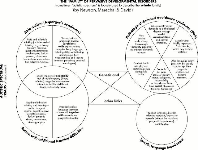 venn diagram showing the family of pervasive development disorders