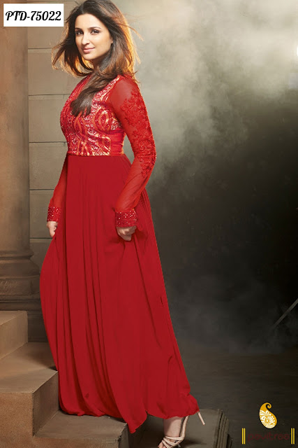 Parineeti Chopra In Red  Color Anarkali Salwar Suits Online Collection