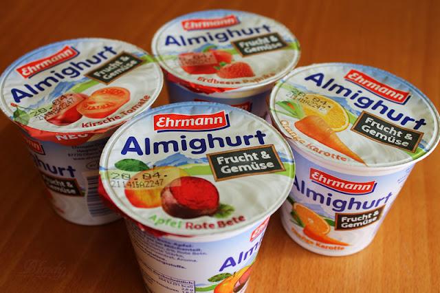 Testpaket mit den neuen Sorten Kirsche/Tomate, Erdbeere/Paprika, Apfel/Rote Bete und Orange/Karotte von Ehrmanns Almighurt Frucht&Gemüse