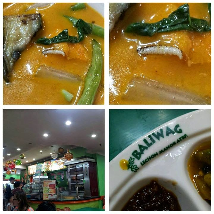 A worm floating in Kare-Kare dish served at Baliwag Tutuban branch
