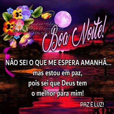 Boa Noite! NÃO SEI O QUE ME ESPERA AMANHÃ... mas estou em paz, pois sei que Deus tem o melhor para mim! PAZ E LUZ!