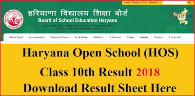 Haryana Open School (HOS) Class 10th Result 2017