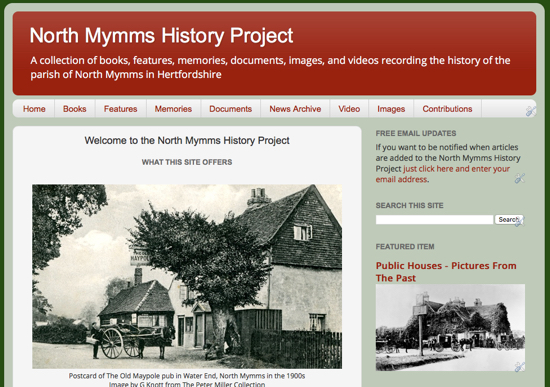 Screen grab of the North Mymms Local History Project