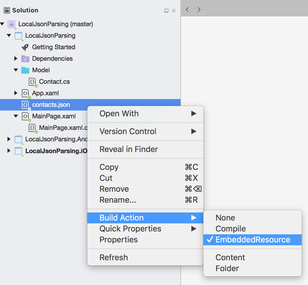 How to read local json file and display in Xamarin Forms (C# - Xaml
