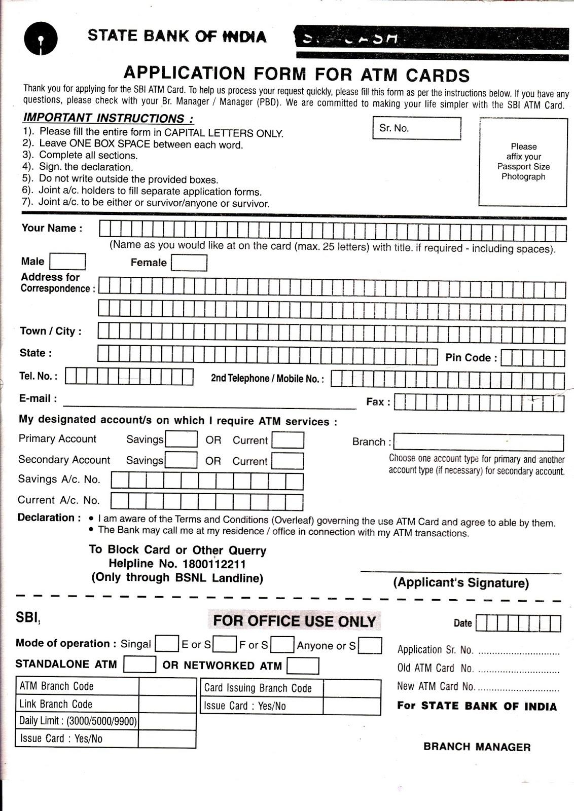 Online free stuff sbi atm card application form state bank of india sbi atm card application form state bank of india thecheapjerseys Images