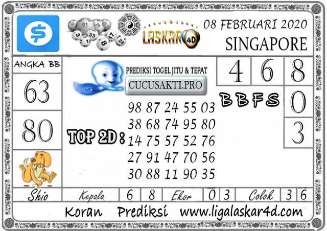 Prediksi Togel SINGAPORE LASKAR4D 08 FEBRUARI 2020