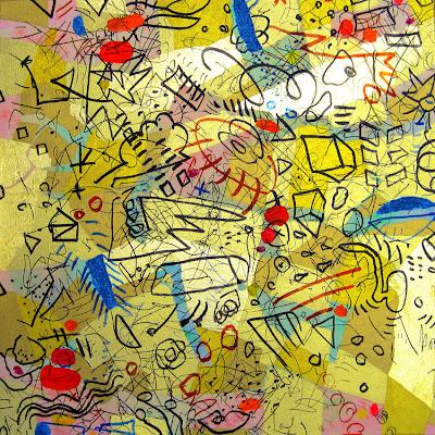 Acrylmalerei, Zeichen über Gold, Kunstmalerei