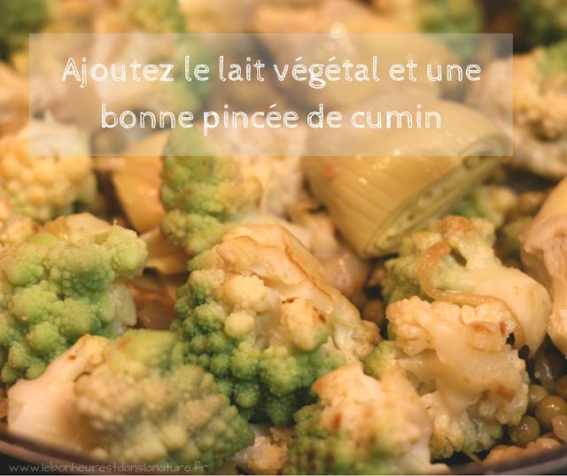 recette vegan végétale ajouter lait végétal et cumin