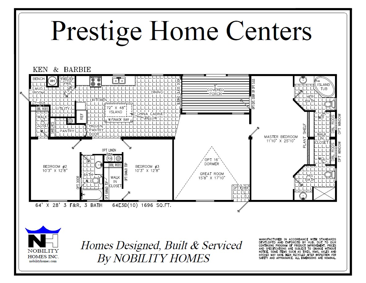5 Bedroom Mobile Home Floor Plans Ken And Barbie 3 Bedroom And 3 Bath 1696 Square Feet With