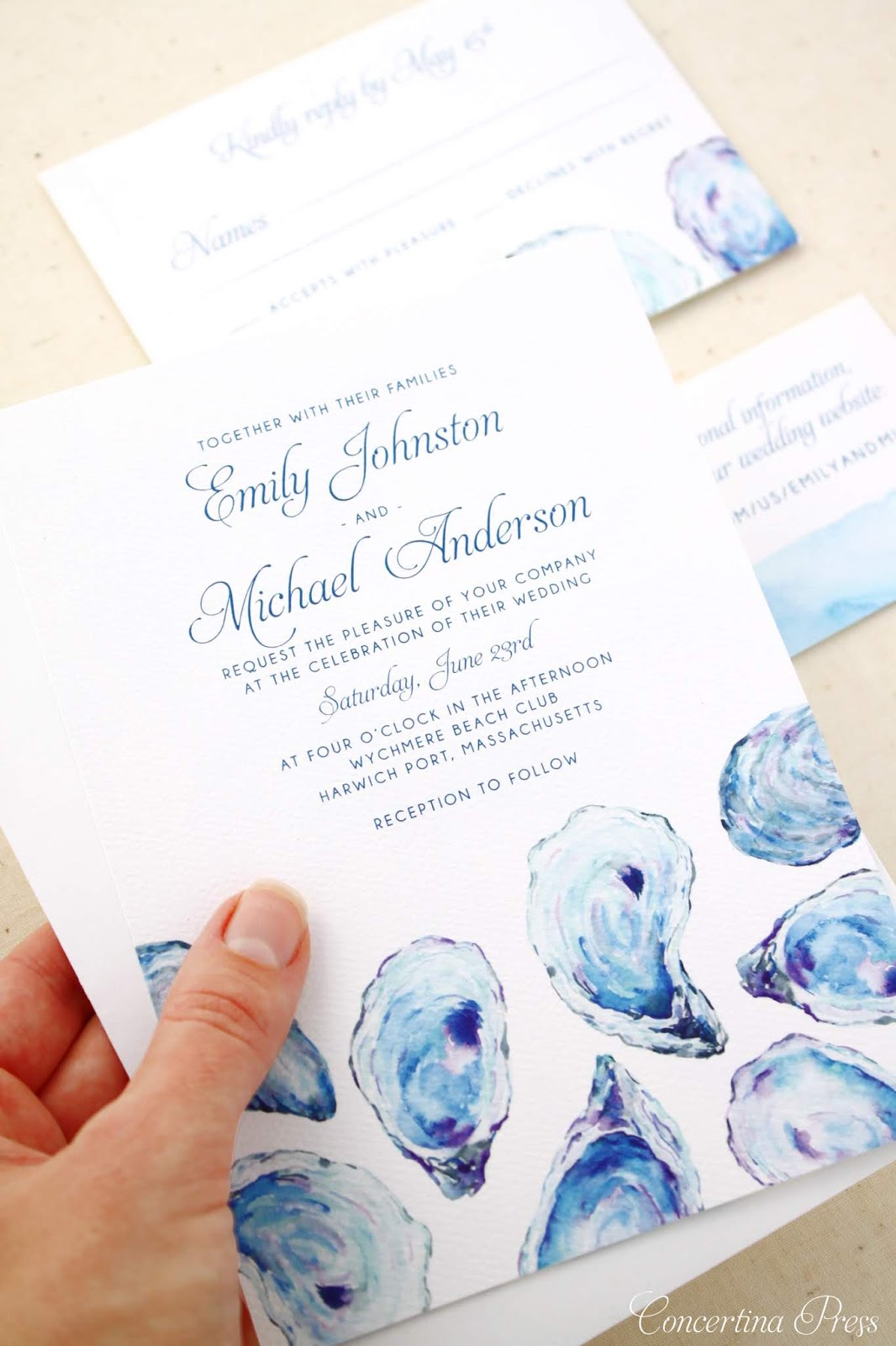Oyster Watercolor Wedding invitations for a Wychmere Beach Club Cape Cod Wedding from Concertina Press
