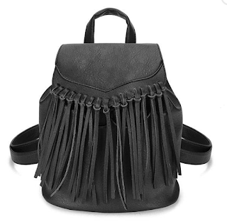 Women PU Leather Tassel Travel Satchel Shoulder Backpack Student School Bag