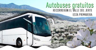 4 RUTAS GRATUITAS en bus recorrerán la primavera del Valle del Jerte