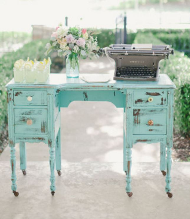 old faded blue desk