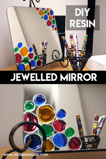 Collage image of resin-jewelled mirror on stand with a collection of colourful pens