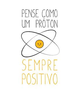 Desenho representativo de um próton em forma icônica de uma carinha amarela sorridente no centro de duas elipses orbitais. Acima lê-se: Pense como um próton; e abaixo: Sempre positivo.