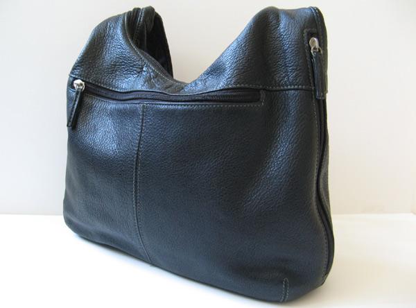 Tignanello Black Leather Hobo Handbag