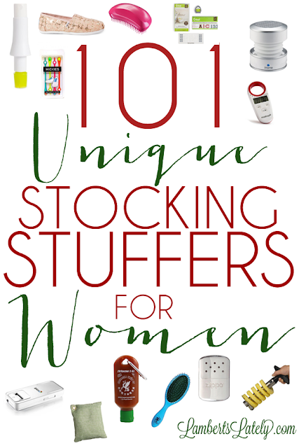 101 Unique Stocking Stuffers for Women...huge list of different gift ideas for a woman, broken into categories (crafter, beauty guru, athlete, etc.). Great resource!