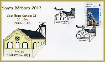 Sobre con el matasellos de la XV Exposición Santa Bárbara de Coleccionismo Minero de Grucomi: Homenaje al 80 aniversario del Castillete del pozo Candín II, Sama de Langreo 2013