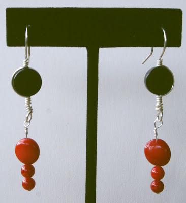 Red & Black (sterling silver, black agate, red bamboo corral, wire wrapping) set: bracelet & earrings :: All Pretty Things