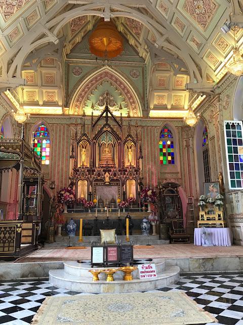 interior of Wat Niwet Thammaprawat Gothic Temple, ayutthaya