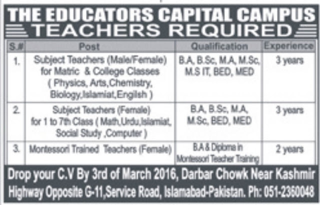 Teachers Jobs in The Educators Capital Campus Islamabad